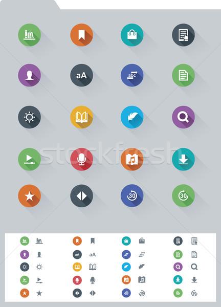 電子ブック セット 単純な アイコン マイク ストックフォト © tele52