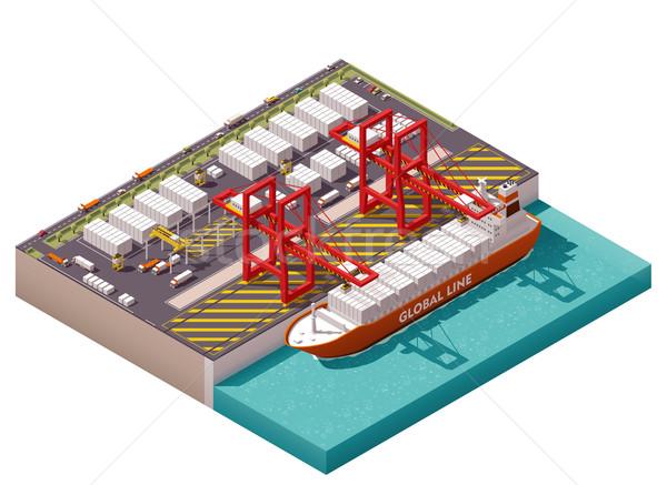 Wektora izometryczny ładunku portu kontenerowiec projektu Zdjęcia stock © tele52