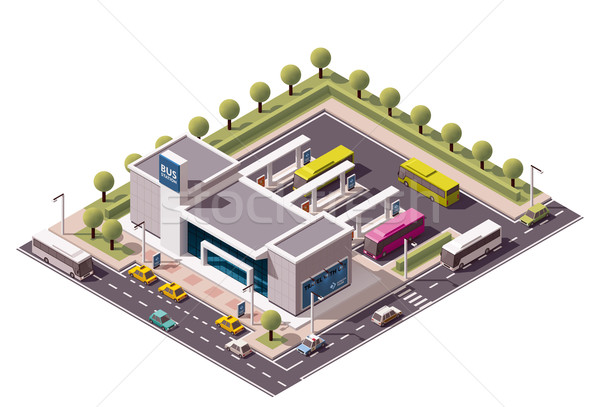Vector isometric bus station Stock photo © tele52