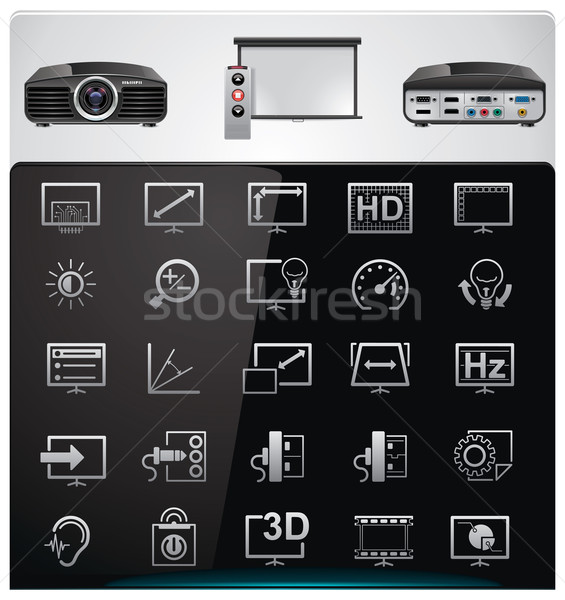 Vector video projector features and specifications icon set Stock photo © tele52