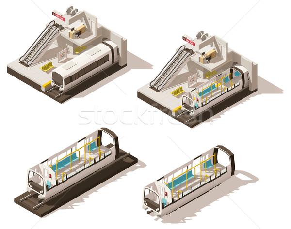 Vektor izometrikus alacsony metró állomás zsakett Stock fotó © tele52