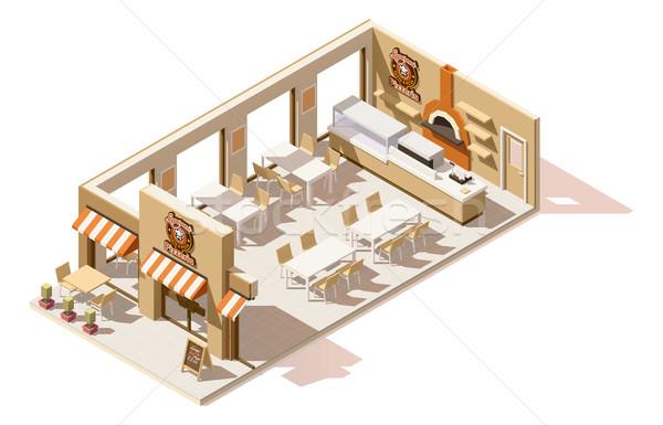 Vector bajo pizzería interior negocios Foto stock © tele52