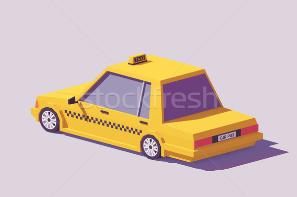 Vector low poly yellow taxi car Stock photo © tele52