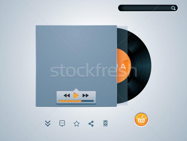 Vektor bakelit lemez boríték zenelejátszó audio Stock fotó © tele52
