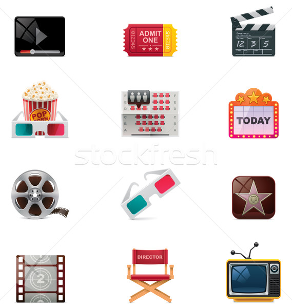 Vector cinema icon set Stock photo © tele52