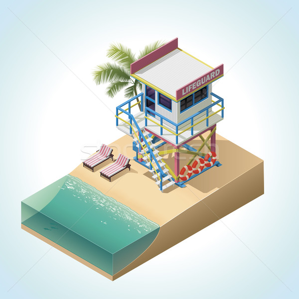 Vector isometric lifeguard tower Stock photo © tele52
