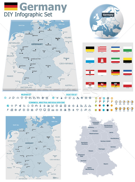 Federal Republic of Germany maps with markers Stock photo © tele52