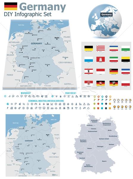 Federal cumhuriyet Almanya haritaları ayarlamak siyasi Stok fotoğraf © tele52