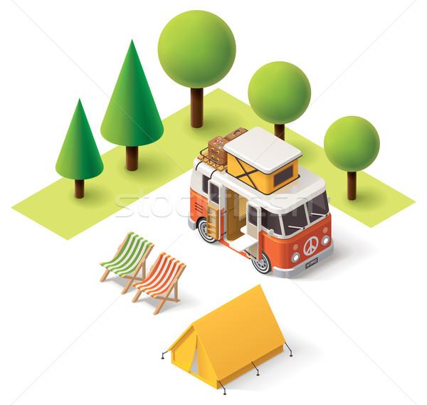Vector isometrische kampeerder reizen icon van Stockfoto © tele52