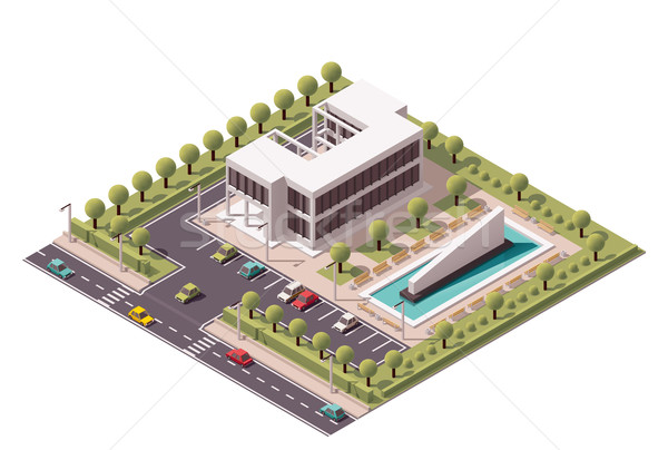 Vector isometric office building icon Stock photo © tele52