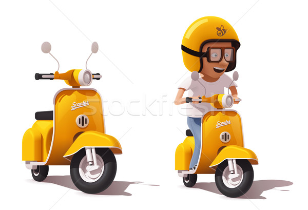 Vector realistic vintage yellow scooter and scooter driver icon Stock photo © tele52