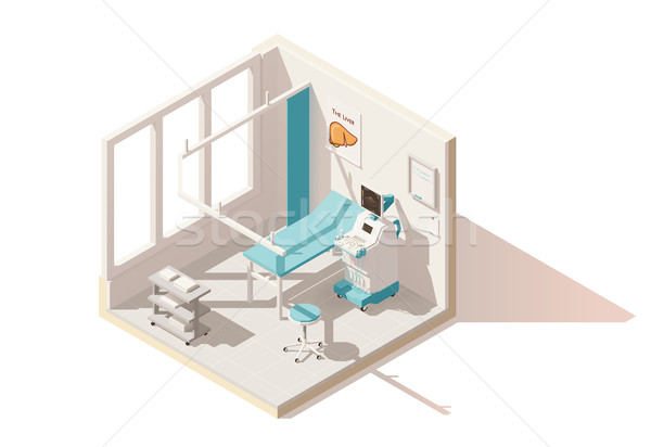 Vector isometric low poly ultrasound room Stock photo © tele52
