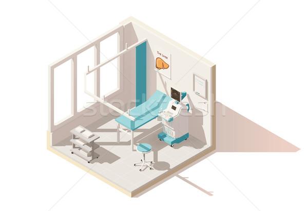 Stockfoto: Vector · isometrische · laag · ultrageluid · kamer · kliniek