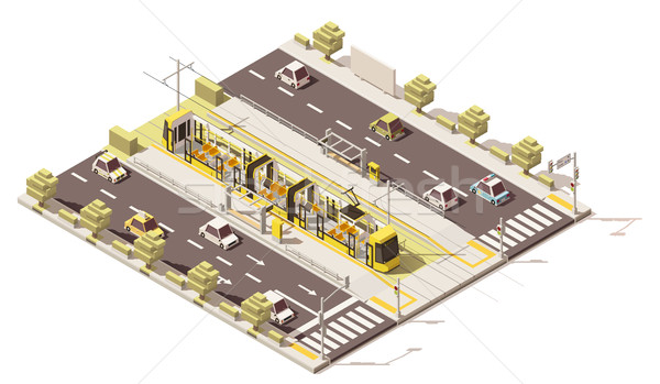 Vector isometric low poly dedicated tram lane Stock photo © tele52