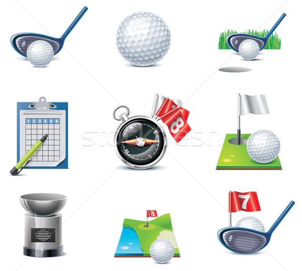 Vektor golf ikon gyűjtemény szett részletes fű Stock fotó © tele52