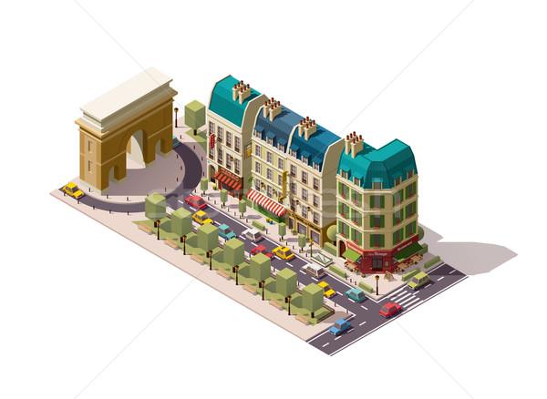 Vektor izometrikus Párizs utca párizsi épületek Stock fotó © tele52