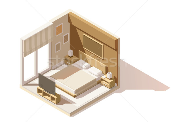 Vector isometric low poly bedroom icon Stock photo © tele52