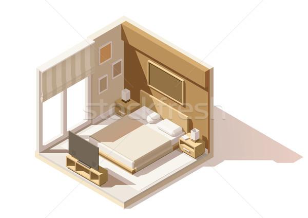 Vektor izometrikus alacsony hálószoba ikon zsakett Stock fotó © tele52