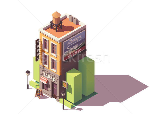 Stock photo: Vector isometric tapas restaurant