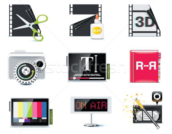 Stockfoto: Vector · video · iconen · ingesteld · televisie · monitor