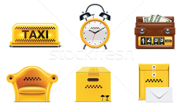 Stock photo: Vector taxi and transportation service icon set. part 2