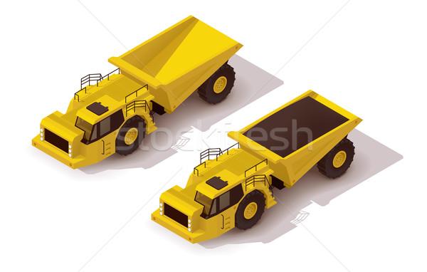 Vector isometrische ondergrondse vrachtwagen icon Geel Stockfoto © tele52