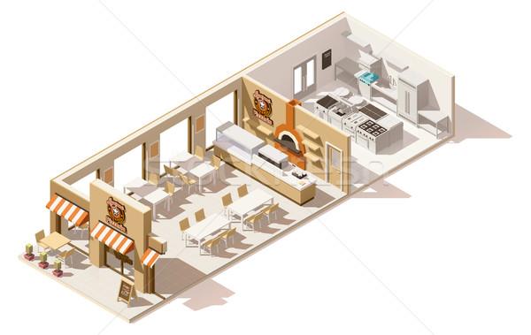Vector isometrische laag pizzeria interieur business Stockfoto © tele52