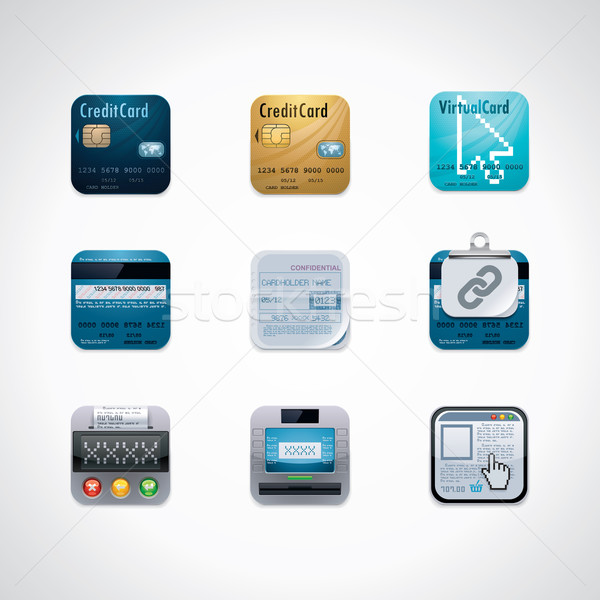 Credit card square icon set Stock photo © tele52