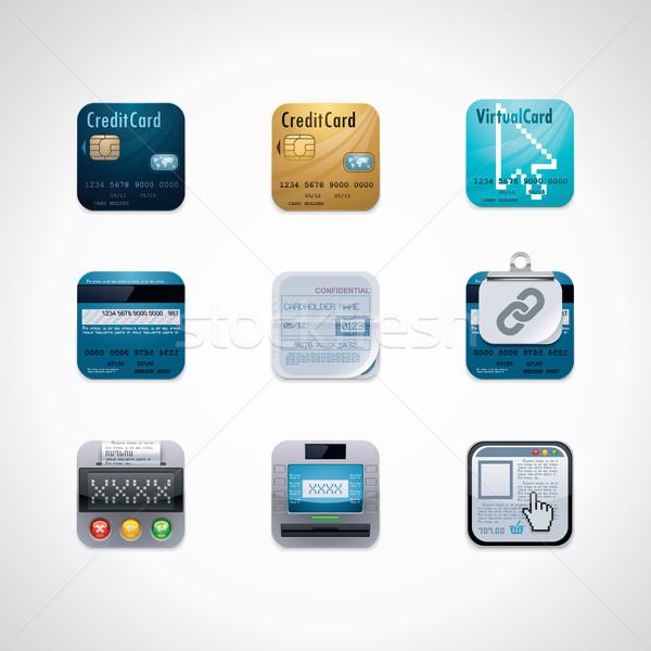 Carte de crédit carré bancaires Photo stock © tele52