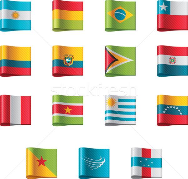 Vector vlaggen ingesteld gedetailleerd textiel Stockfoto © tele52