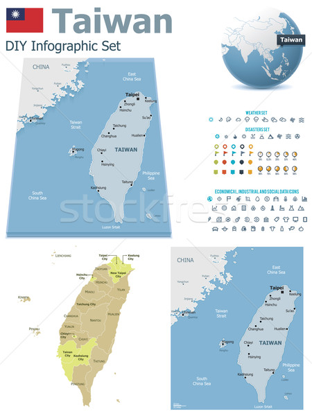 Stock photo: Taiwan maps with markers