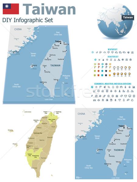 Tayvan haritaları ayarlamak siyasi semboller Stok fotoğraf © tele52