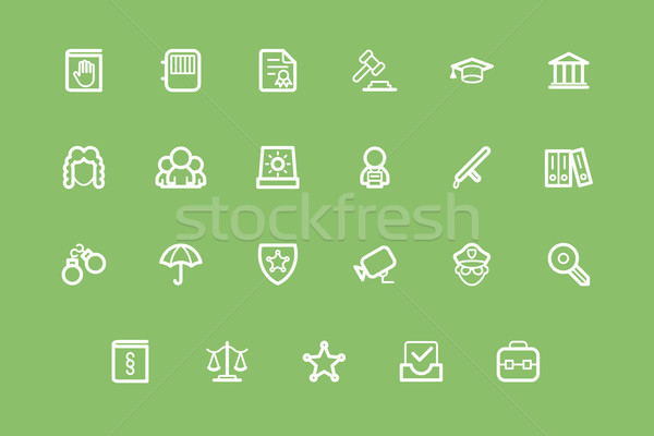Law and Order icon set Stock photo © tele52