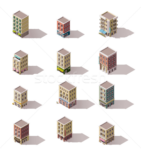 Vector isometric buildings set Stock photo © tele52