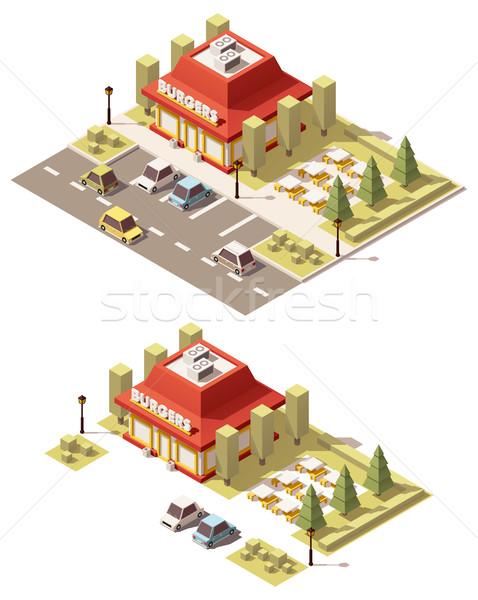 Vector isometrische laag fastfood restaurant gebouw business Stockfoto © tele52