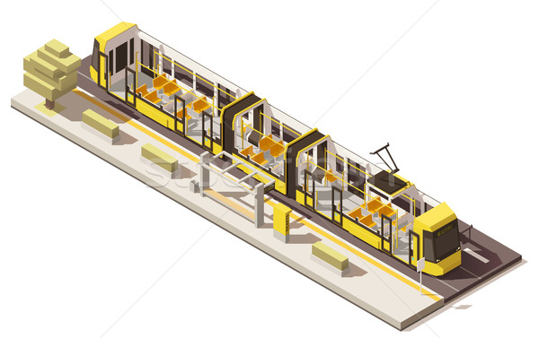 Vector isometric low poly low-floor tram Stock photo © tele52