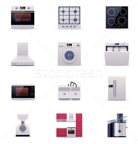 Stock fotó: Vektor · házi · készülékek · szett · ikonok · kicsi