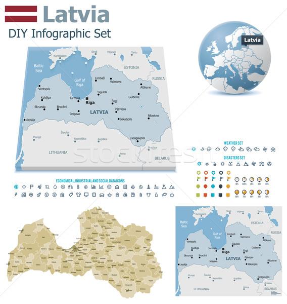 Lettország térképek szett politikai szimbólumok infografika Stock fotó © tele52