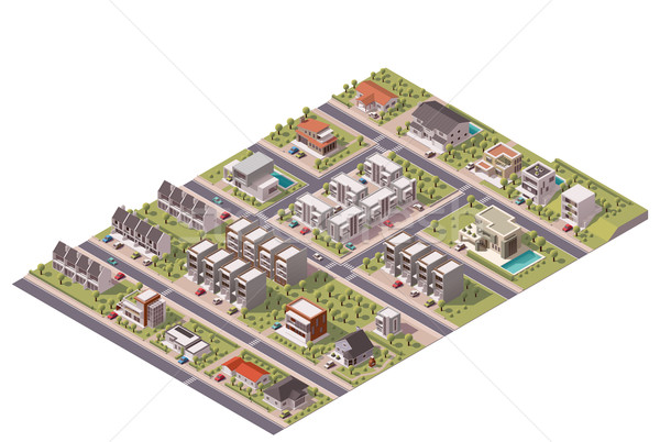 Vector isometric suburb map Stock photo © tele52