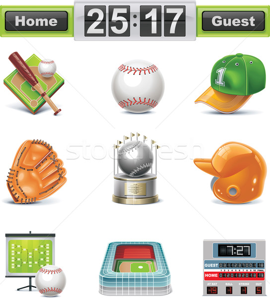 Vector baseball / softball icon set Stock photo © tele52