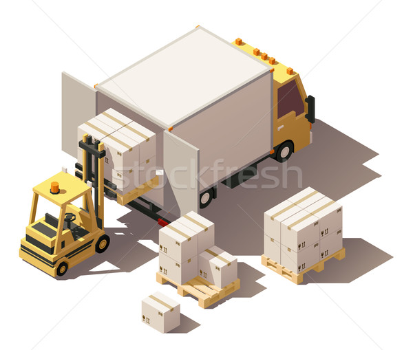 Vector isometric forklift loading box truck with crates on pallets icon Stock photo © tele52