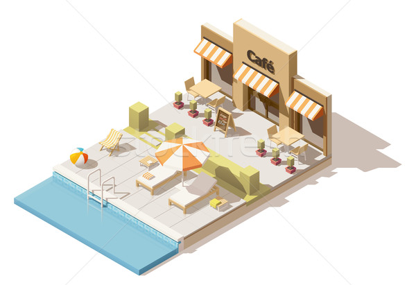 Vektör izometrik düşük yüzme havuzu kafe yaz Stok fotoğraf © tele52