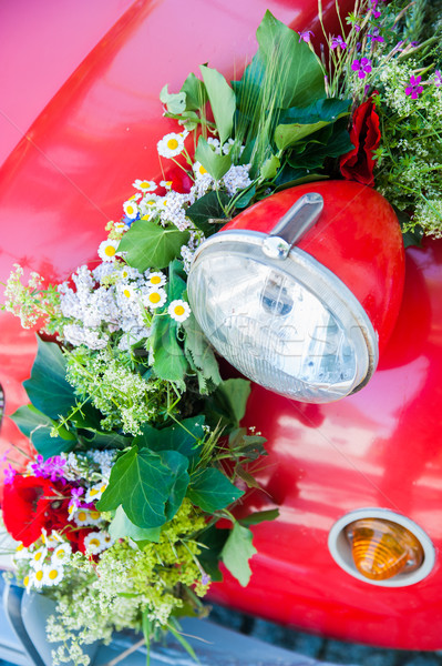 Red car with Flower Bouquet Stock photo © tepic