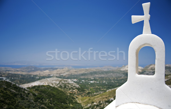 Bel toren santorini witte Griekenland blauwe hemel Stockfoto © tepic