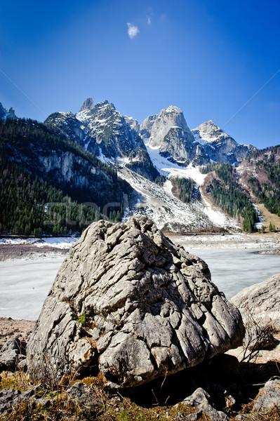Groot rock bergen blauwe hemel natuur landschap Stockfoto © tepic