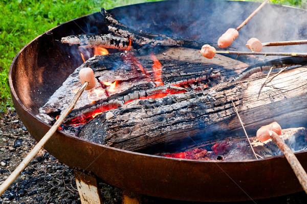 Főzés máglya kolbászok bot étel nyár Stock fotó © tepic