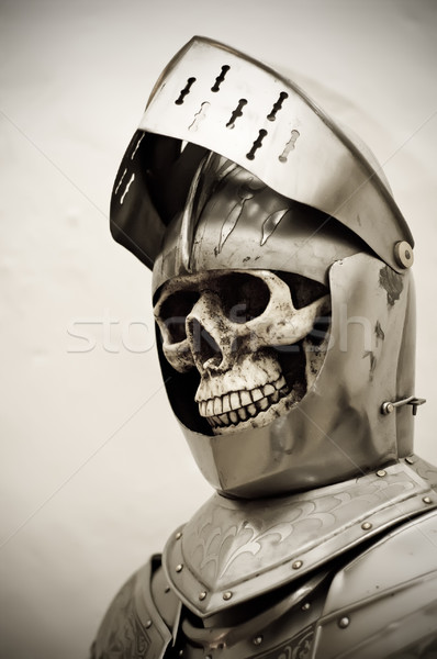 Skelet pantser pak schedel menselijke ijzer Stockfoto © tepic