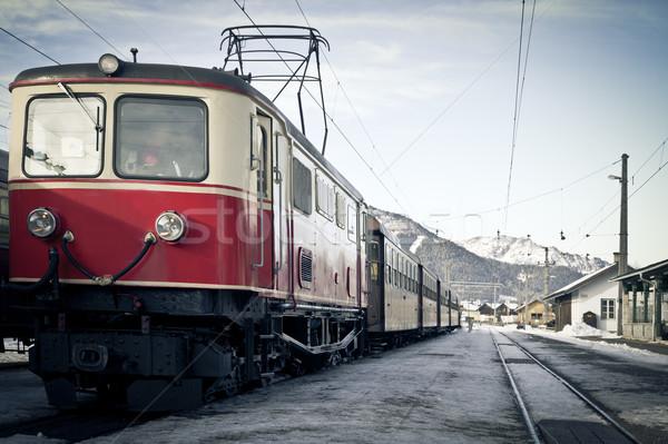 Pociągu zimą krajobraz Austria śniegu podróży Zdjęcia stock © tepic