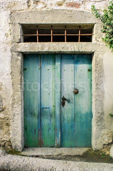 Groene houten deur boeren huis Stockfoto © tepic