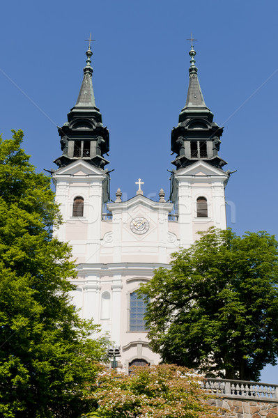 Kerk beroemd bedevaart boom klok berg Stockfoto © tepic